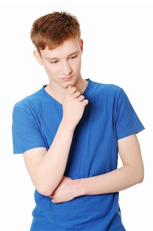 Young man thinking about a problem , isolated on white Stock Photo - Budget Royalty-Free & Subscription, Code: 400-04389879