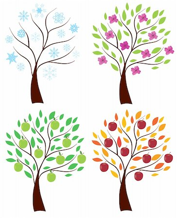 Vector illustration of set of apple trees Stock Photo - Budget Royalty-Free & Subscription, Code: 400-04380017