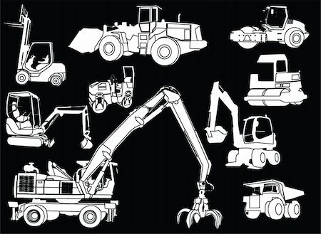illustration of construction machines - vector Stock Photo - Budget Royalty-Free & Subscription, Code: 400-04380669