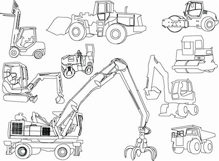 illustration of construction machines - vector Stock Photo - Budget Royalty-Free & Subscription, Code: 400-04380670