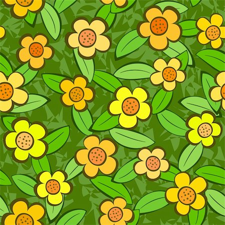 funky flower designs - Vector abstract flowers seamless repeat pattern background Stock Photo - Budget Royalty-Free & Subscription, Code: 400-04380688