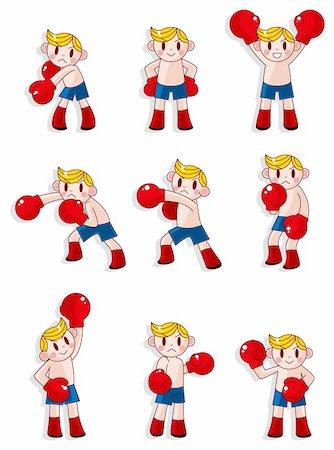 cartoon boxer icon set Stock Photo - Budget Royalty-Free & Subscription, Code: 400-04381754