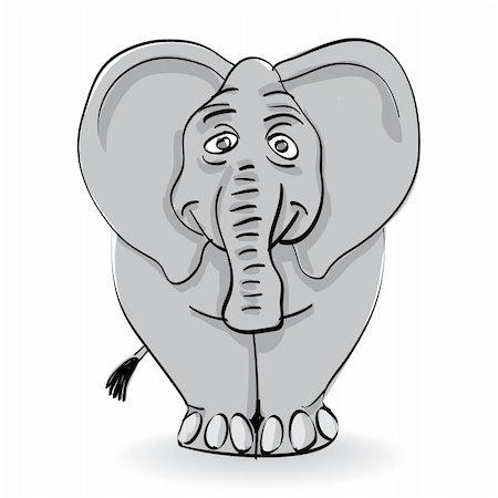 funny grey elephant isolated - illustration Stock Photo - Budget Royalty-Free & Subscription, Code: 400-04382224