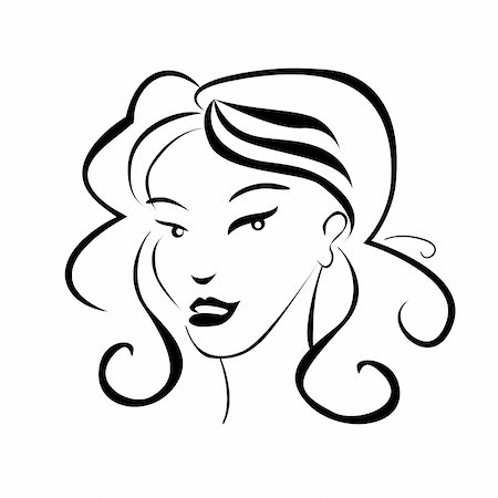 girl face outline black and white illustration Stock Photo - Budget Royalty-Free & Subscription, Code: 400-04382226