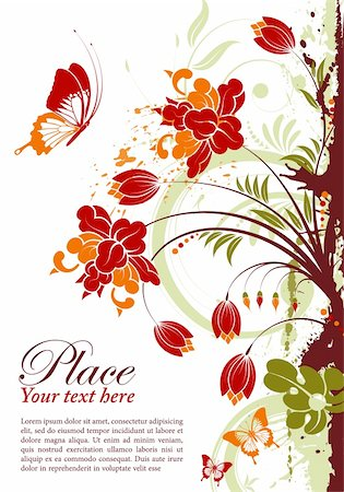 filigree designs in trees and insects - Grunge floral frame with butterfly, element for design, vector illustration Stock Photo - Budget Royalty-Free & Subscription, Code: 400-04382729