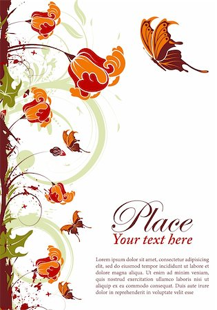 filigree designs in trees and insects - Grunge floral frame with butterfly, element for design, vector illustration Stock Photo - Budget Royalty-Free & Subscription, Code: 400-04382723