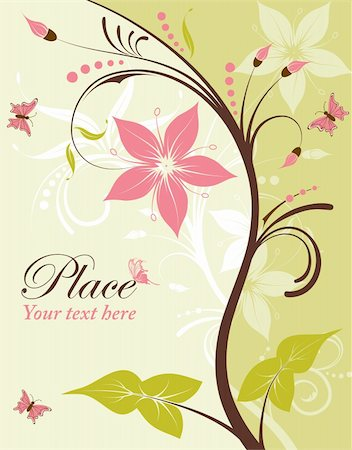 filigree designs in trees and insects - Flower frame with butterfly, element for design, vector illustration Stock Photo - Budget Royalty-Free & Subscription, Code: 400-04382731