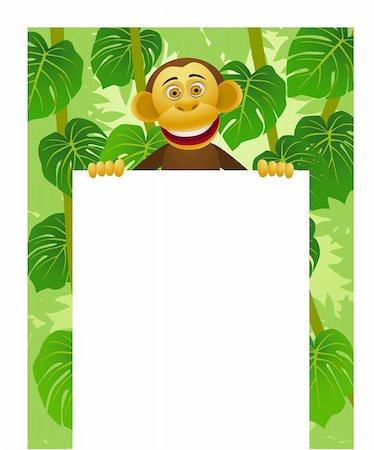 smiling chimpanzee - Chimpanzee cartoon and blank sign Stock Photo - Budget Royalty-Free & Subscription, Code: 400-04382902