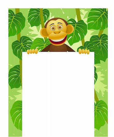 smiling chimpanzee - Chimpanzee cartoon and blank sign Stock Photo - Budget Royalty-Free & Subscription, Code: 400-04382902