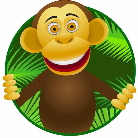 smiling chimpanzee - Chimpanzee cartoon Stock Photo - Budget Royalty-Free & Subscription, Code: 400-04382903