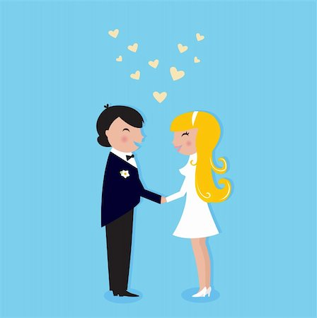 Cute Bride and Groom. Vector illustration. Stock Photo - Budget Royalty-Free & Subscription, Code: 400-04382982