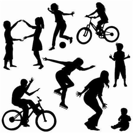 Hand drawn silhouettes of children playing Stock Photo - Budget Royalty-Free & Subscription, Code: 400-04383359