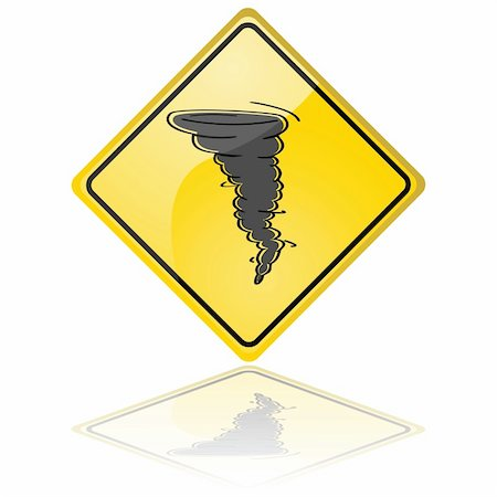 Glossy illustration of a warning sign showing a tornado Stock Photo - Budget Royalty-Free & Subscription, Code: 400-04383476