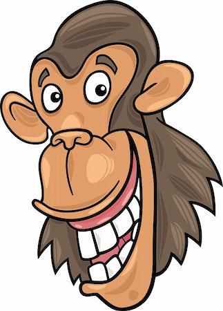 smiling chimpanzee - cartoon illustration of funny chimpanzee ape Stock Photo - Budget Royalty-Free & Subscription, Code: 400-04383471