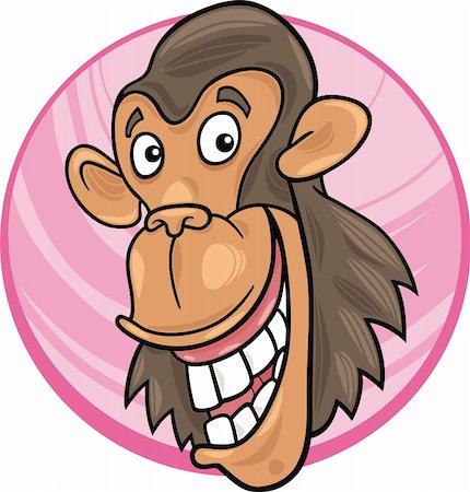 smiling chimpanzee - cartoon illustration of funny chimpanzee ape Stock Photo - Budget Royalty-Free & Subscription, Code: 400-04383472