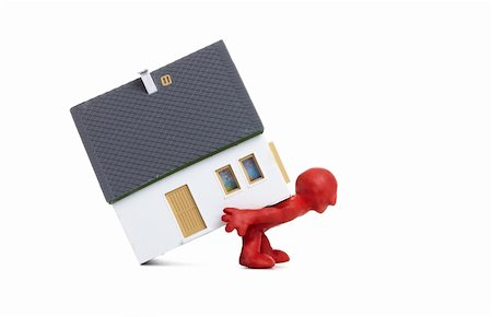 Image of red unreal man carrying house on his back Stock Photo - Budget Royalty-Free & Subscription, Code: 400-04383609