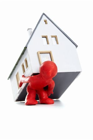 Photo of plasticine man carrying house on his back Stock Photo - Budget Royalty-Free & Subscription, Code: 400-04383610