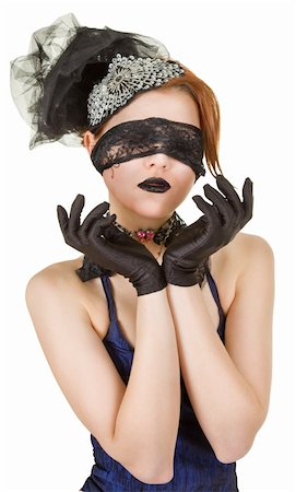 Girl blindfolded and dressed in underwear Stock Photo - Budget Royalty-Free & Subscription, Code: 400-04383836