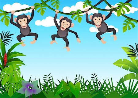 smiling chimpanzee - Chimpanzee cartoon vector Stock Photo - Budget Royalty-Free & Subscription, Code: 400-04394041