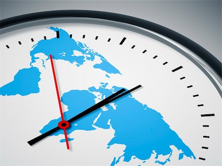 An image of a nice clock with world map Stock Photo - Budget Royalty-Free & Subscription, Code: 400-04394061
