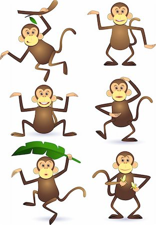smiling chimpanzee - Cute monkey cartoon vector Stock Photo - Budget Royalty-Free & Subscription, Code: 400-04394183