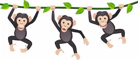smiling chimpanzee - Chimpanzee cartoon vector Stock Photo - Budget Royalty-Free & Subscription, Code: 400-04394367