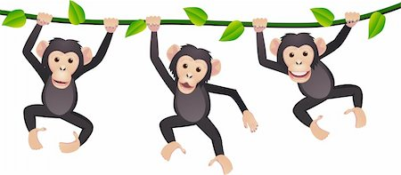 smiling chimpanzee - Chimpanzee cartoon vector Stock Photo - Budget Royalty-Free & Subscription, Code: 400-04394367