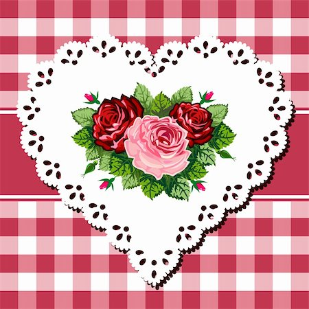 Vintage rose bouquet illustration on lace heart and checkered red white background Stock Photo - Budget Royalty-Free & Subscription, Code: 400-04394368