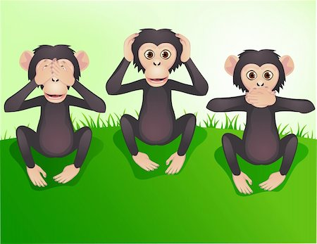 smiling chimpanzee - Three wishes monkey, hear no evil, speak no evil, see no evil Stock Photo - Budget Royalty-Free & Subscription, Code: 400-04394362