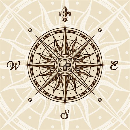 Vintage compass rose in woodcut style. Vector illustration with clipping mask. Stock Photo - Budget Royalty-Free & Subscription, Code: 400-04394850