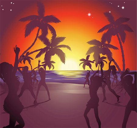 Illustration of dancers on the beach at sunset enjoying a party. Stock Photo - Budget Royalty-Free & Subscription, Code: 400-04394879