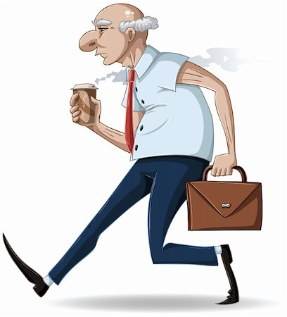 A vector illustration of an old businessman walking with a briefcase and a hot take-away coffee cup. Stock Photo - Budget Royalty-Free & Subscription, Code: 400-04395421