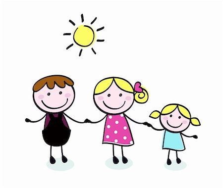 Vector doodle family - cartoon illustration in hand drawn style. Stock Photo - Budget Royalty-Free & Subscription, Code: 400-04395934