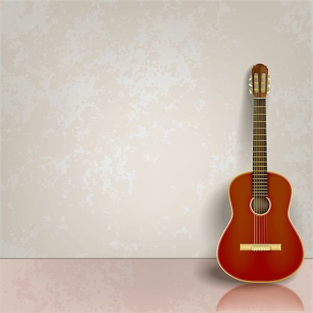 sheet music background - abstract grey grunge background with acoustic guitar Stock Photo - Budget Royalty-Free & Subscription, Code: 400-04396151