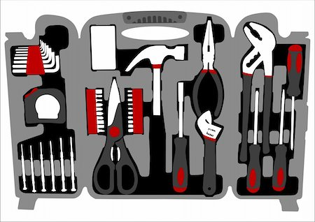 Color vector of a suitcase with work tools Stock Photo - Budget Royalty-Free & Subscription, Code: 400-04396498