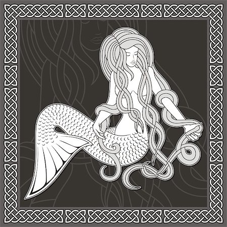 Illustration of a sitting mermaid with long hair on black background and celtic border. Stock Photo - Budget Royalty-Free & Subscription, Code: 400-04397319