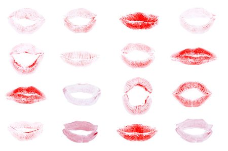 simsearch:400-04801287,k - red lips mark, different expressions over white background Stock Photo - Budget Royalty-Free & Subscription, Code: 400-04397483