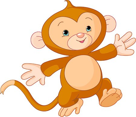 Illustration of Happy little Monkey skipping runs Stock Photo - Budget Royalty-Free & Subscription, Code: 400-04397645