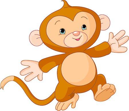 Illustration of Happy little Monkey skipping runs Stock Photo - Budget Royalty-Free & Subscription, Code: 400-04397645