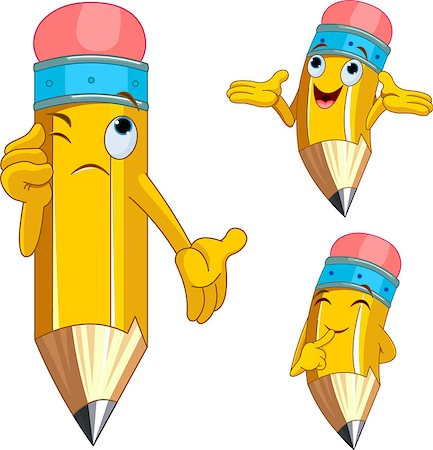 Pencil Character Different facial expressions Stock Photo - Budget Royalty-Free & Subscription, Code: 400-04397647