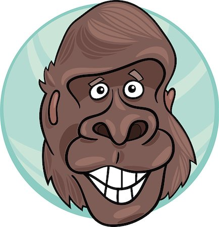smiling chimpanzee - cartoon illustration of funny gorilla ape Stock Photo - Budget Royalty-Free & Subscription, Code: 400-04397727