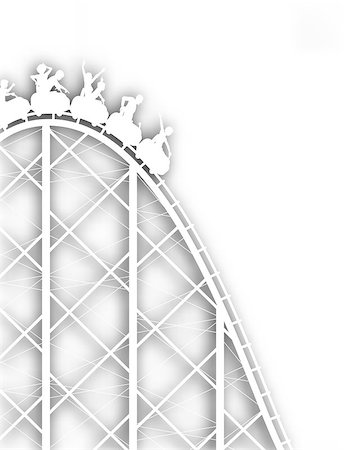 Editable vector cutout silhouette of a steep rollercoaster ride with background shadow made using a gradient mesh Stock Photo - Budget Royalty-Free & Subscription, Code: 400-04397962