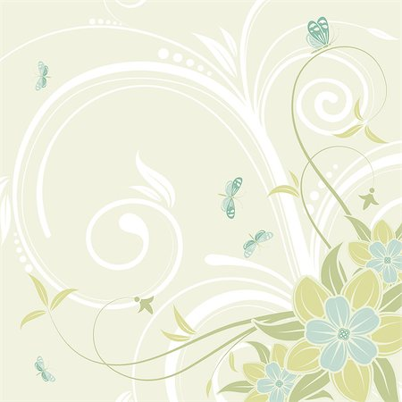 filigree designs in trees and insects - Flower frame with butterfly, element for design, vector illustration Stock Photo - Budget Royalty-Free & Subscription, Code: 400-04398228