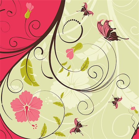filigree designs in trees and insects - Flower frame with butterfly, element for design, vector illustration Stock Photo - Budget Royalty-Free & Subscription, Code: 400-04398223
