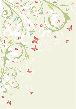 filigree designs in trees and insects - Flower frame with butterfly, element for design, vector illustration Stock Photo - Budget Royalty-Free & Subscription, Code: 400-04398235