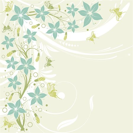 filigree designs in trees and insects - Flower frame with butterfly, element for design, vector illustration Stock Photo - Budget Royalty-Free & Subscription, Code: 400-04398233