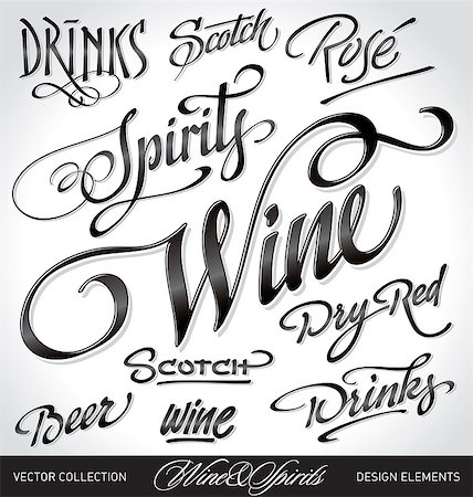 beverages headlines, hand lettering set (vector) Stock Photo - Budget Royalty-Free & Subscription, Code: 400-04398292