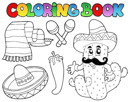 Coloring book with Mexican theme 2 - vector illustration. Stock Photo - Budget Royalty-Free & Subscription, Code: 400-04399055