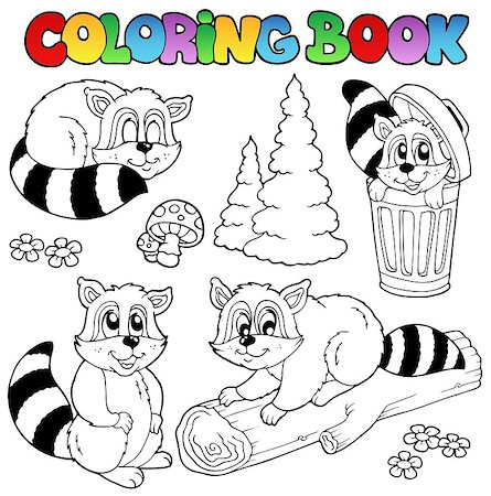 Coloring book with cute raccoons - vector illustration. Stock Photo - Budget Royalty-Free & Subscription, Code: 400-04399051