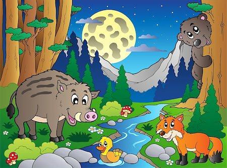 Forest scene with various animals 4 - vector illustration. Stock Photo - Budget Royalty-Free & Subscription, Code: 400-04399067